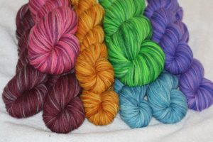Rainbow worsted skeins